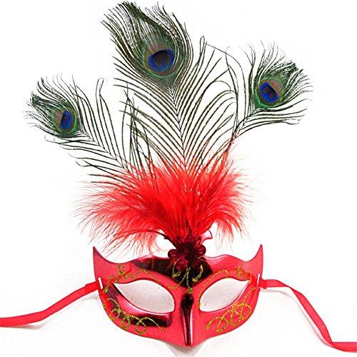 HAOBAO Neue Frauen Elegante Pfau Feder Maske Mädchen Kostüm Sexy Prom Party Halloween Weihnachten Masquerade Tanz Masken Zubehör Packung von 2, 1 (Klebrig Weihnachten Kostüm)