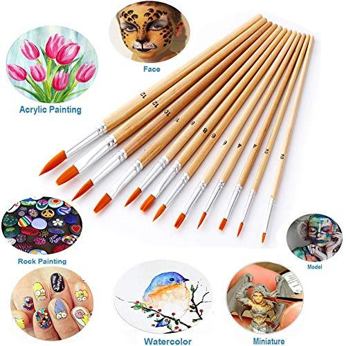 Set Set, leegoal Acryl Pinsel lange Griff Nylon Haar Detail Malerei Pinsel Künstler Pinsel für Acryl, Öl, Gouache, Tinten, Tempera, Aquarelle 12 Pack ()