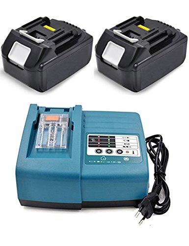 Preisvergleich Produktbild Ladegerät & 2X Akku für Makita Ladegerät 7.2 V-18V DC18RA DC18RC mit Für Makita Akku 18V 3.0Ah Li-ion Batterie Werkzeug ErsatzAkku BL1830 BL1815 BL1840 BL1850