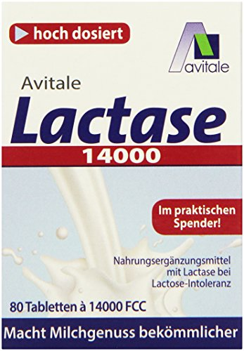 Avitale Lactase 14000 FCC, 80 Tabletten im Spender, 1er Pack (1 x 30 g) - 80 Tabletten