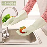 CWAIXX Washing glove _1995 Thin LaTeX household gloves kitchen clean waterproof rubber household gloves , Medium M Code: Green