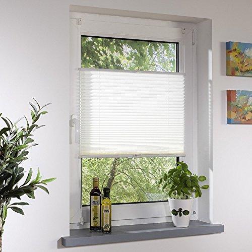 Liedeco® Plissee freihängend mit Klemmträger / 100 x 130 cm weiß (Breite x Höhe) / lichtdurchlässig blickdicht und stufenlos verstellbar / viele Farben und Größen / Breiten 43 - 100 cm / variable und einfache Montage möglich