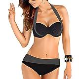 Uskincare Bikini et Maillot de Bain Deux Pièce Taille Bas/Haute de Supérieure Qualité Agrandissant pour Femme (XXL, Gris foncé et Noir)