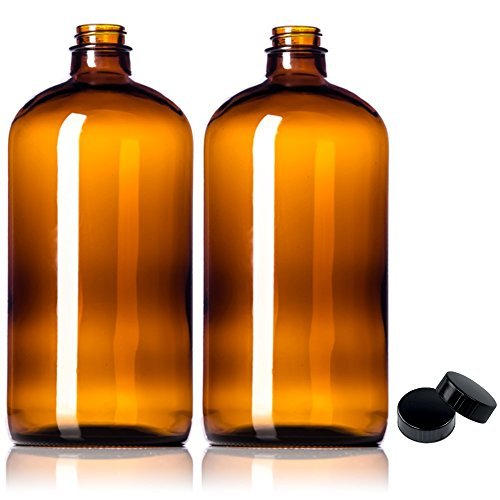 2-pack-32oz-growler-amber-glass-with-polycone-phenolic-lid-for-a-tight-seal-perfect-for-secondary-fe