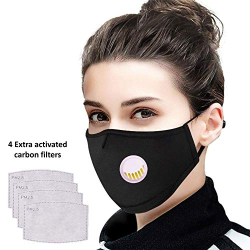 Tdas Face mask for dust pollution for men women kids bike bikers air anti pollution dustproof mask washable reusable (Black)