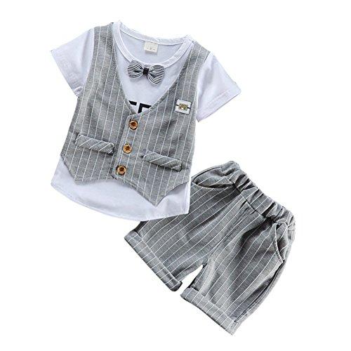 g Gentleman Kleidung Set Weste kurze T-Shirt und Plaid kurze Hose formale Party Taufe Hochzeit Smoking für 3M-3Y Kleinkind Kleinkind (Kleinkind Baby Kostüme)