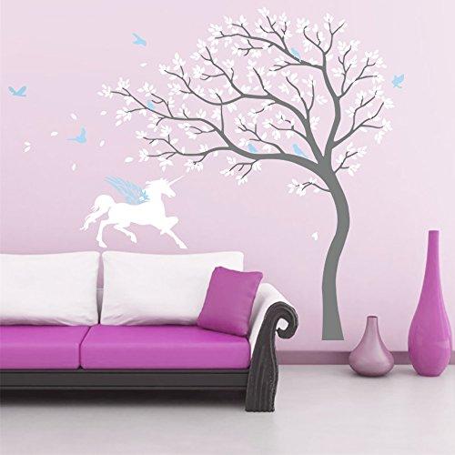 DecalMile Unicornio y Árbol Pegatinas de Pared Vinilos Decorativos para Habitación Infantiles Niños Dormitorio Salón