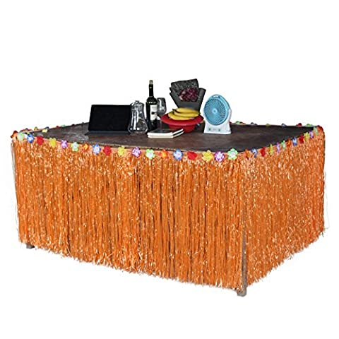 Lugii Cube hawaïen Tropical Style Jupe de table Gazon artificiel Fleur incrusté Luau BBQ Vaisselle de fête Décoration, orange
