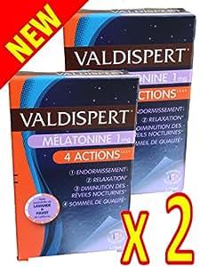 VALDISPERT - Complexe Favorisant l'ENDORMISSEMENT - Mélatonine 1 mg - 4 ACTIONS: ENDORMISSEMENT # RELAXATION # DIMINUTION des REVEILS NOCTURNES # SOMMEIL DE QUALITE - 2 Mois de TRAITEMENT - 2 Boites de 30 Capsules