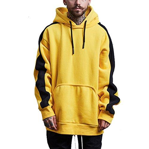 semen Herren Rap Hip Hop Sweater Heavy Kapuzen Sweatshirt Übergröße Hoodie mit Tasche Herbst Sweater Winter Herbst Gelb (Hoodies Hip Hop)