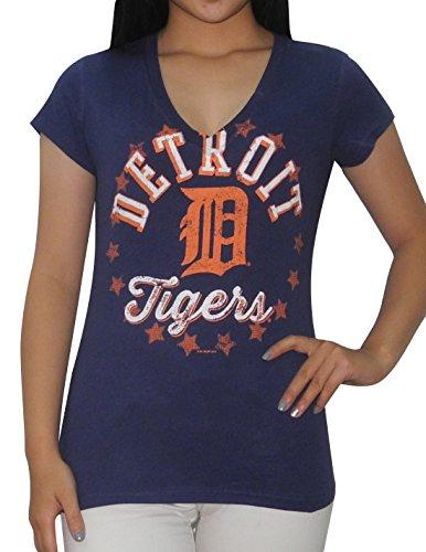 Det Tigers Damen Athletic V-Ausschnitt T Shirt (Vintage Look), damen, dunkelblau - Tiger Athletic T-shirt