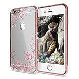 NALIA Handyhülle für Apple iPhone 6 6S, Durchsichtiges Slim Silikon Case Blumen-Muster Metall-Optik Dünne Schutz-Hülle Glitzer-Steine Bling Cover Etui Bumper Handy-Tasche iP-6, Farbe:Rosa