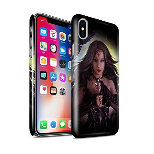 Officiel Elena Dudina Coque / Clipser Brillant Etui pour Apple iPhone X/10 / Coeur Noir Design / Super Héroïne Collection Coeur Noir