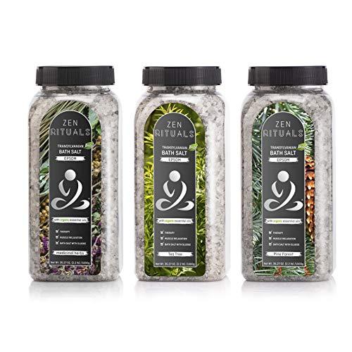 Paket Badesalz Zen Rituals- Therapeutischer Badesalz Epsom mit Öle Siebenbürgische Pflanzen, mit Organischen Öle Teebaumöl, mit Organischen Öle Waldkieferöl - 3 Flaschen, 3Kg. -