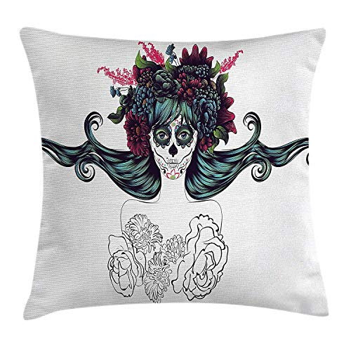 KAKICS Girls Throw Pillow Cushion Cover, Sugar Skull Girl Fashion Floral Head Band Hat Rebirth of Dearly Loved Ones Zombie, Decorative Square Accent Pillow Case, 18 X 18 inches, Multicolor