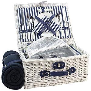 HappyPicnic INNO Stage Weide Picknickkorb Set für 2 Personen mit Kühlfach, Wasserdichter Picknickdecke, Picknickkoffer…