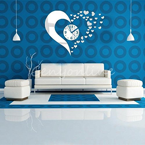DIY Novelty 3D Home Art Hearts Mirror Decoration Wall Clock Living Room Silver Amazoncouk Kitchen