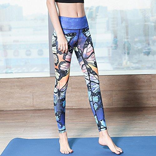 Unbekannt Erica Damen Sport Gym Yoga Workout Mid Waist Running Hosen Fitness elastische Leggings Knöchel Länge, Butterfly Blue, s Butterfly Bootcut Jeans