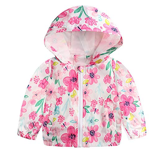 Bellelove☺Baby Mädchen Kind Wasserdicht Blumen Karikatur Mit Kapuze Mantel Jacke Outwear Regenmantel Hoodies