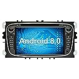 Ohok 7 Zoll Bildschirm 2 Din Autoradio Android 8.0 Oreo Octa Core Radio mit Navi DVD GPS Navigation Unterstützt Bluetooth DAB+ für Ford Mondeo/S-Max/C-Max/Focus/Galaxy Schwarz