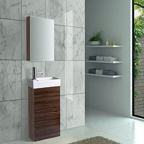 #Enki Waschkommode Spiegel Schrank Set Walnuss Zebrano Spiegel Becken Wasserhahn Pop Ablaufgarnitur#