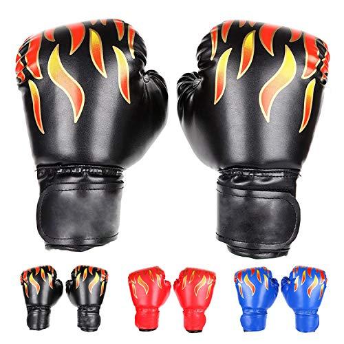 FUMEI Kinder Boxhandschuhe, Kickboxhandschuhe mit Klettschluss Klein Box-Handschuhe für Kinder von 3-10 Jahre Training Gloves 6 Unzen zum Kampfsport, MMA, Muay Thai, Kickboxen (Schwarz)