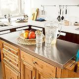 SoBuy® Luxus-Küchenwagen aus hochwertigem Bambus mit Edelstahlarbeitsplatte,Kücheninsel,Küchenschrank,B129xT46xH91cm FKW14-N - 6