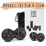 Fitcarrots Duoball 8 und 12 cm Set - Twinball Set für Faszientraining, Selbstmassage, Triggerpunkttherapie von Nacken, Rücken, Armen und Waden von Experten Empfohlen inkl. Startguide - Schwarz