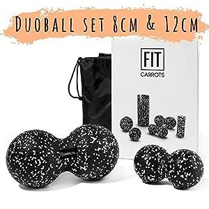 Fitcarrots Duoball 8cm – Twinball für Faszientraining Selbstmassage Triggerpunkttherapie von Nacken, Rücken, Arme und Wade von Experten empfohlen inkl. Startguide – Schwarz
