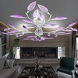 MIA Light Blätter Deckenleuchte Ø620mm| Floral - Florentiner | Lila | Blätterlampe Deckenlampe