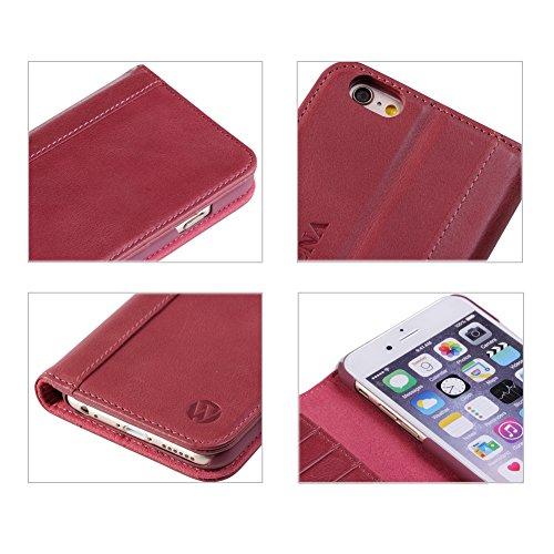 iPhone 6 pochette case Shell iphone 6S Housse de protection étui en cuir avec béquille, fentes pour cartes Rose Rose