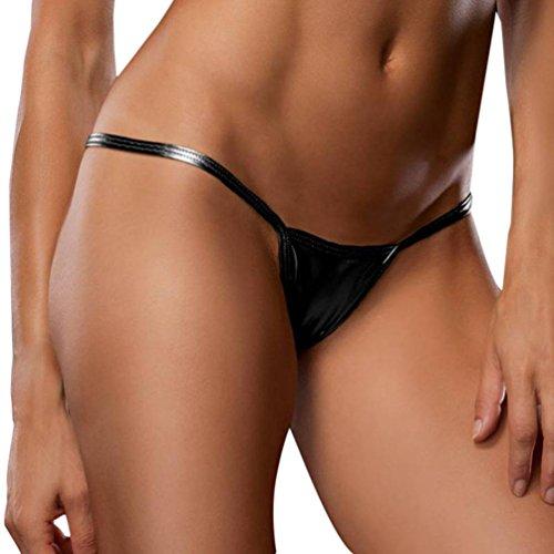 Thongs Bloß Nachahmung Leder Bikini Sunday Frau Kreativ Entwurf Unterhose Unterwäsche Frauen Reizvolles Bare Kunstleder Unterhose Dessous Lady Bikini DB (Schwarz, Freie Größe) -