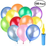 NUOLUX 100Pcs Assorted Color Balloons Latex Party Balloons with a Balloon Pump 6 Rolls Ribbons