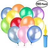 NUOLUX Party Luftballons 100Pcs Latexballons Spielzeug with a Luftballon Pumpe 6 Rollen Bänder