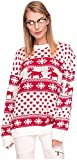 Loomiloo Damen Sweater Sweatshirt Pullover Merry Christmas Rentier Weihnachten Pulli (OneSize, Rentier Weiß)