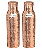 900 ML / 30 oz – Set of 2 - Prisha India Craft ® Traveller's 100 % Pure Copper Water Bo... Best Review Guide