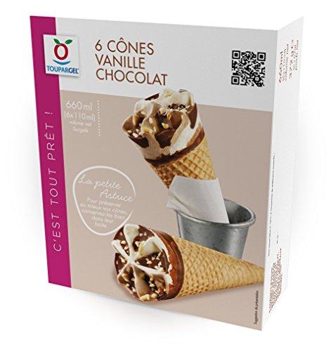 TOUPARGEL - Cônes vanille chocolat - 6 x 62 g - Surgelé