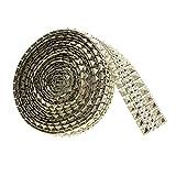 sharplace 5Meter GOLD Kunststoff Strass Perlen Band Nähen auf Netzsaum Hochzeit Party Dekoration Aufnäher 27mm
