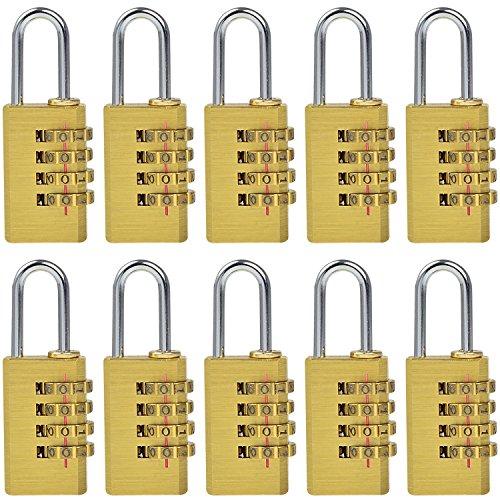 MENGS® 10 Stück MG214 Kombinations Zahlenschloss aus Messing und Stahlbügel mit 4 stelligem ZahlenCode für Taschen, Koffern, Schatullen, Kassetten, Schränken, Spinden, usw.