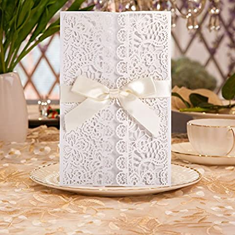20pcs Wedding Bridal Shower Invitation Cards DIKETE® DIY Hollow Flower Lace [Sleeve Cover + Envelope + Blank Card + Bowknot] Party Invitation Template for Engagement Kids Birthday Baptism Anniversary