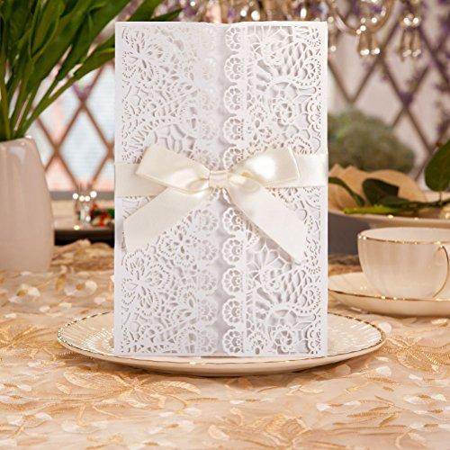 Hochzeit EinladungsKarten Glückwunsch Einladung Karten , 20 Stück DIKETE  Elegante Blume Spitze 4 In 1 [ Hohle Hülse+leere Karte Umschlag+Bowknot]