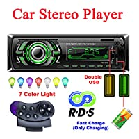 Bosszi Car Stereo Bluetooth, 4x60W 1 Din Car Radio FM Radio, Bluetooth Hands-free Receiver Car MP3 Player with Steering Wheel Control, Supports RDS/AUX/USB/SD