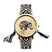 Mixe® Handmade Knitted Jewelry Watch Women Ladies Tribal Elephant Watches Dress Decor (Black) + Gift Black Cloth Pouch