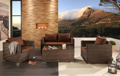 Destiny Loungegruppe Hemingway Pine Sofaset New Pine Braun Polyrattan Lounge