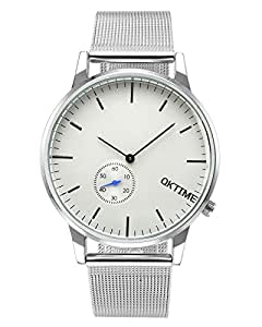 JSDDE Einfaches Armbanduhr Wasserdicht Schöne Zeitloses Design Unisex Uhr Mesh Metallarmband Quarz Uhr Silber