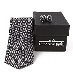 Giftacrossindia Printed Black Grey Collection Tie and Cufflinks of Quality Fabric for Mens.