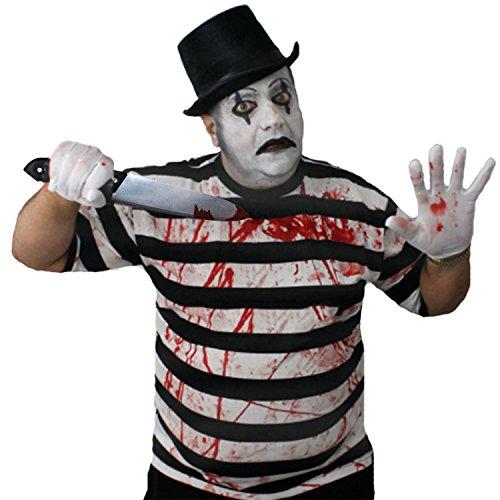 ILOVEFANCYDRESS Zombie Killer Pantomime Clown = STRASSENKÜNSTLER=KOSTÜME VERKLEIDUNG=Tshirt+Zylinder+Handschuhe+KUNSTBLUT+Make UP+Plastik ()