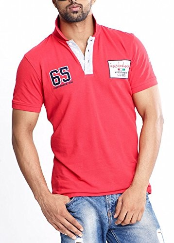 Masculino Latino Casual Red T-shirts Polo for Men MLP104A-S