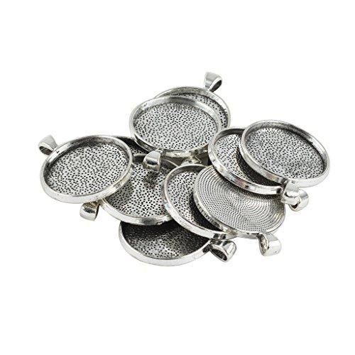Homyl 10 stücke leere runde lünette tray basis für diy 30mm cabochon halskette anhänger (Basis Oberen)