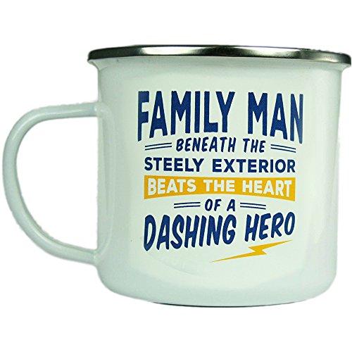 H & H Top Guy Mug Family Man, großer Camping-Kaffeetasse, Emaille, ca. 400 ml, Mehrfarbig, leicht, Retro-inspiriert, für Herren Family Guy Bier